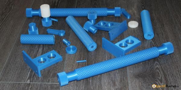 Pièces 3D de test pour gaufrier à cire avec des rouleaux