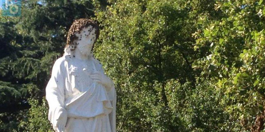 Des abeilles essaiment et couvre une statue